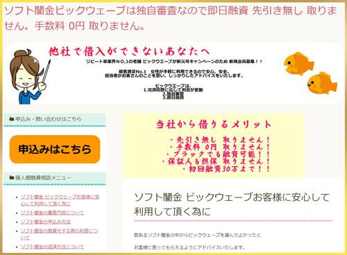 ソフト闇金ビックウェーブのホームページ画像